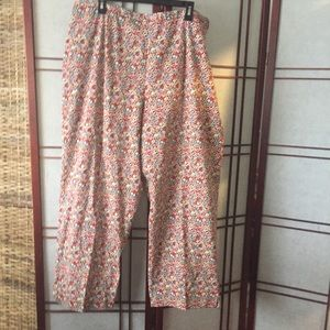 Plus Size Pants with Small Flower Print.